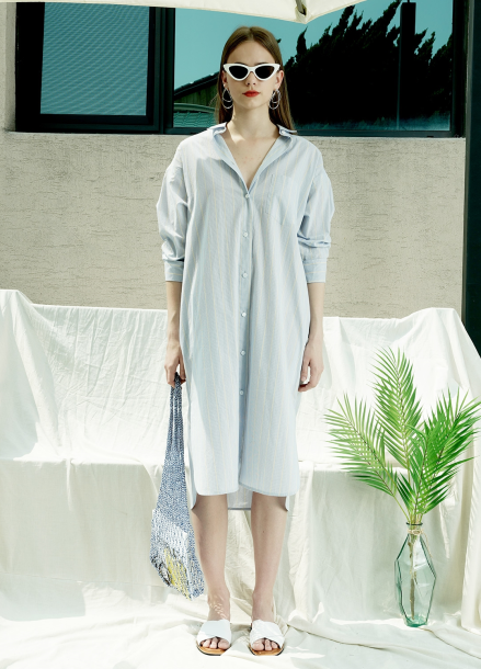 [단독★40%할인/PINBLACK] STRIPE COTTON LONG-SHIRT DRESS_BL