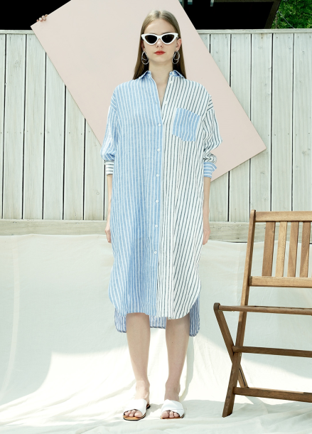 [PINBLACK] STRIPE LINEN LONG-SHIRT DRESS_WH