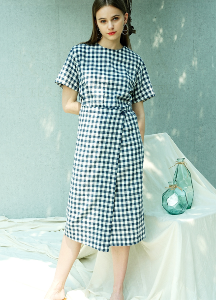 [단독★30%할인/PINBLACK] GINGHAM CHECK LAP DRESS_BL