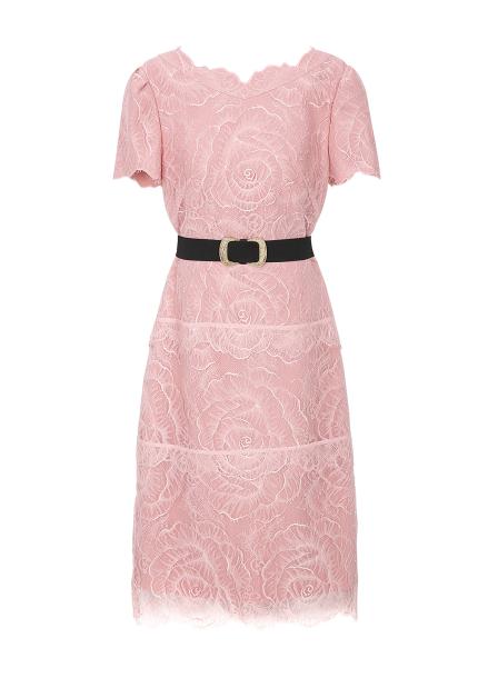 Lace Belt Slim Line Dress