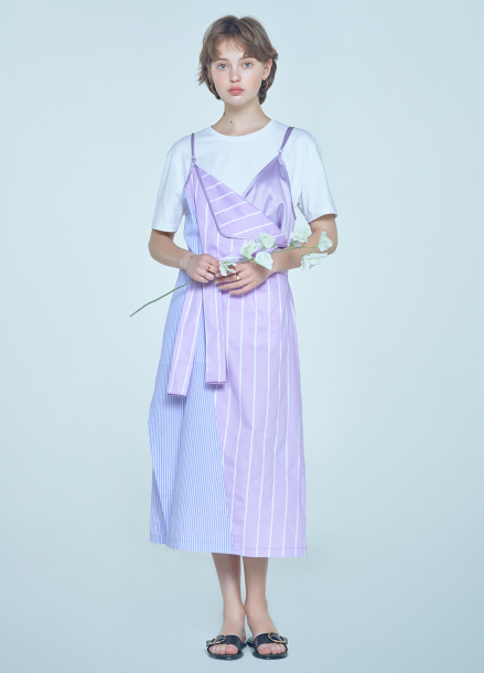 [박민영 착용★7/23 예약배송/20%할인/CLUE DE CLARE] color block slip onepiece Purple