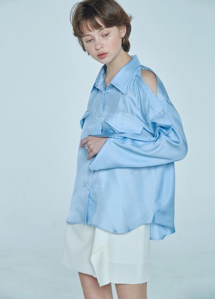 [단독★20%할인/CLUE DE CLARE] placket sleeve blouse Blue