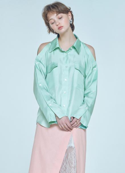 [단독★20%할인/CLUE DE CLARE] placket sleeve blouse Green