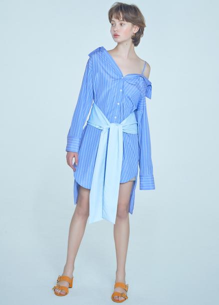 [단독★20%할인/CLUE DE CLARE] off shoulder blouse Blue