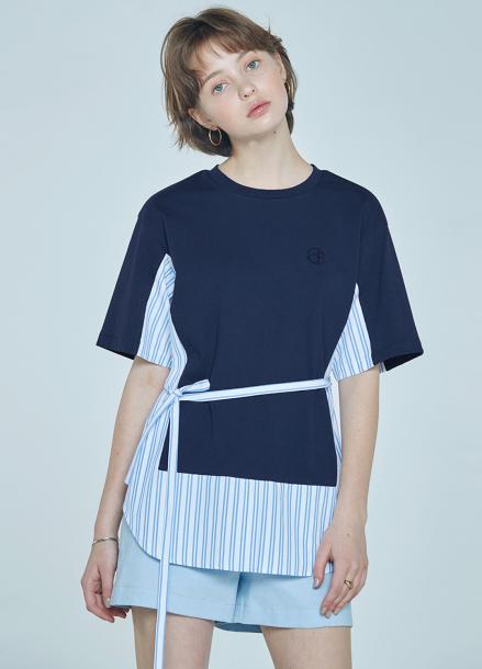 [단독★20%할인/CLUE DE CLARE] color block sweat shirt Navy