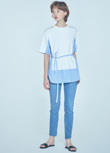 [단독★20%할인/CLUE DE CLARE] color block sweat shirt White