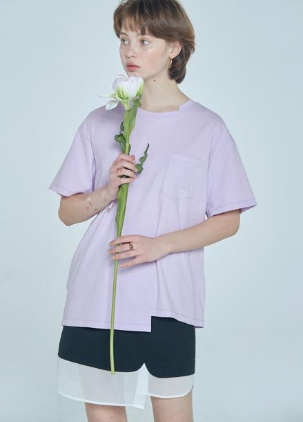 [CLUE DE CLARE] unbalance T-shirt Purple