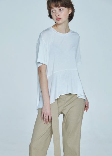 [CLUE DE CLARE] flare T-shirt White