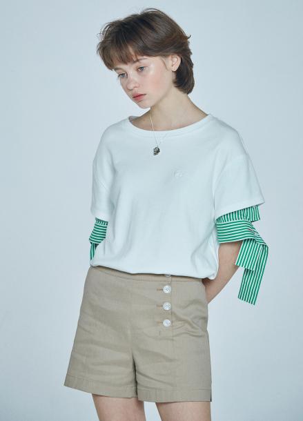 [단독★20%할인/CLUE DE CLARE] layered sleeve T-shirt White