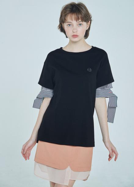 [단독★20%할인/CLUE DE CLARE] layered sleeve T-shirt Black