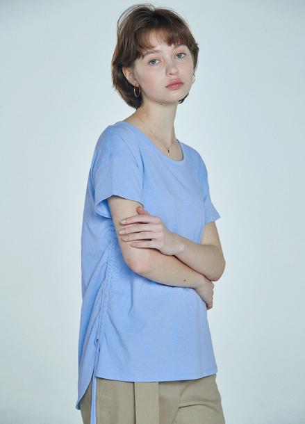 [CLUE DE CLARE] shirring detail T-shirt Blue