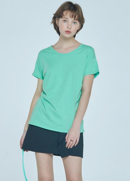 [CLUE DE CLARE] shirring detail T-shirt Green