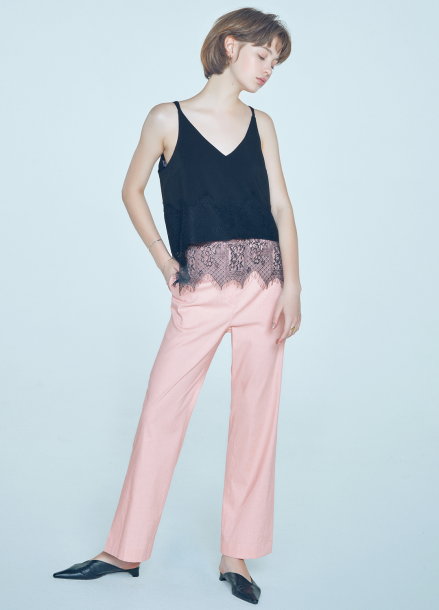[단독★20%할인/CLUE DE CLARE] lace detail sleeveless top Black