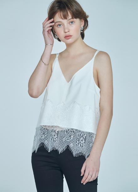 [단독★20%할인/CLUE DE CLARE] lace detail sleeveless top White