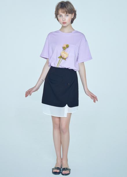 [단독★20%할인/CLUE DE CLARE] layered detail skirt Black