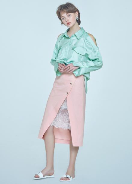 [단독★20%할인/CLUE DE CLARE] lace layered skirt Pink