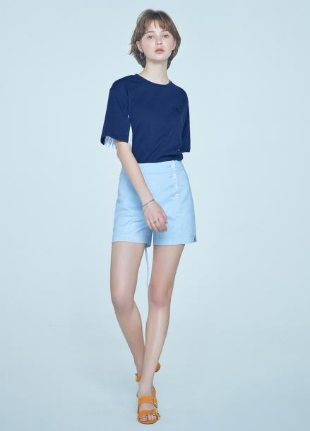 [단독★20%할인/CLUE DE CLARE] side placket short pants Blue