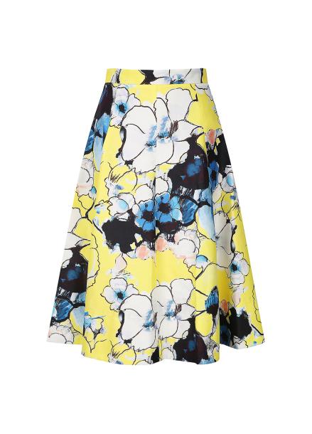 Flower Pattern Flare Skirt