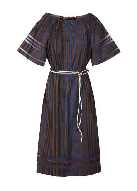 Offshoulder Stripe Pattern Dress