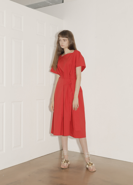[단독★30%할인/PAUL&ALICE]18SS SQUARE NECK COTTON DRESS_RD