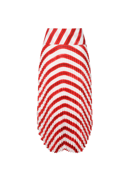 Round Stripe Pleats Skirt