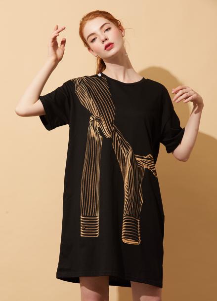 [5%할인/AHINEDITION]SLEEVE PRINTING T-SHIRT DRESS