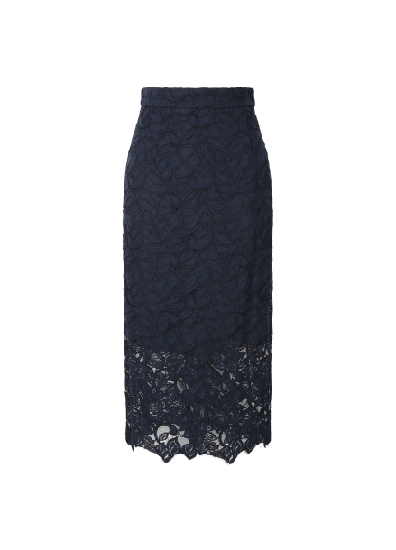 Navy Lace Midi Skirt