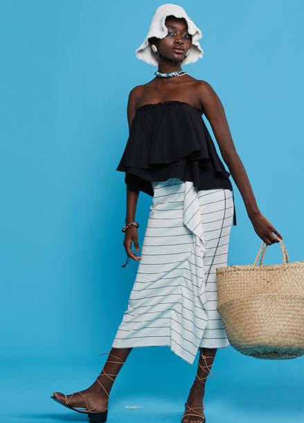 [TAZE]TR-Terry Stripe Long Skirts