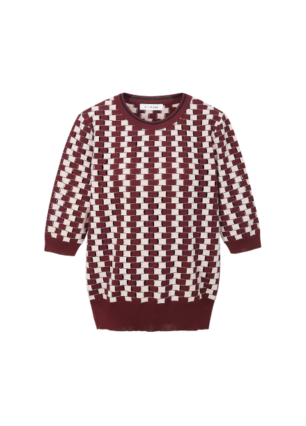 Round Neck Patterned Pullover