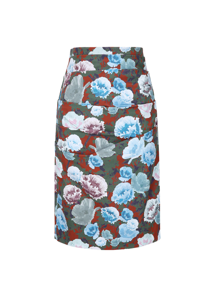 Flower Pattern H-Line Skirt