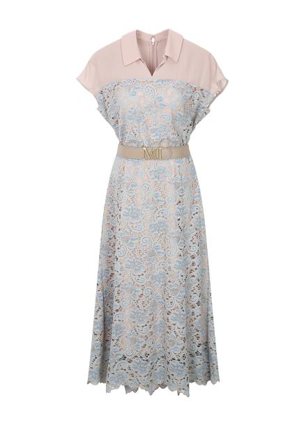 Lace Layerd Belt Sleeveless Dress