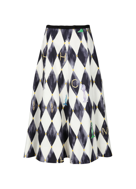 Chess Printed Midi Skirt
