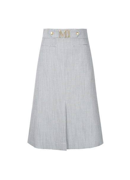 Gold Belt Check Midi Skirt