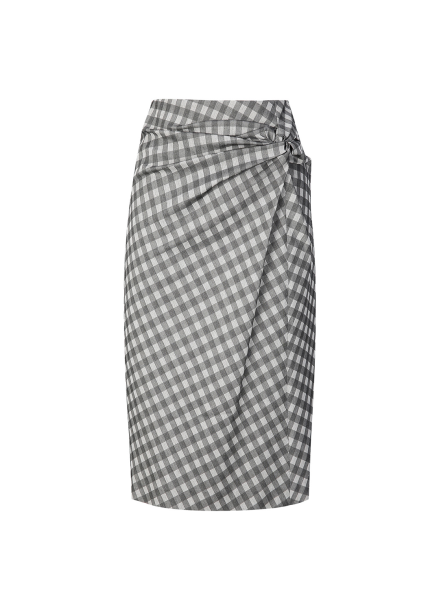 Check Patterned Knot Skirt