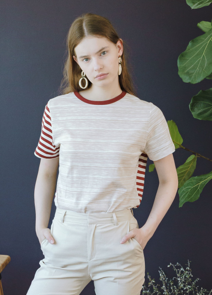 [KOLLAB]MIX STRIPE T WINE