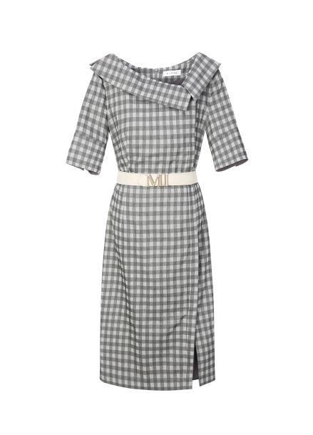 Folded Neck Collar Check Dress