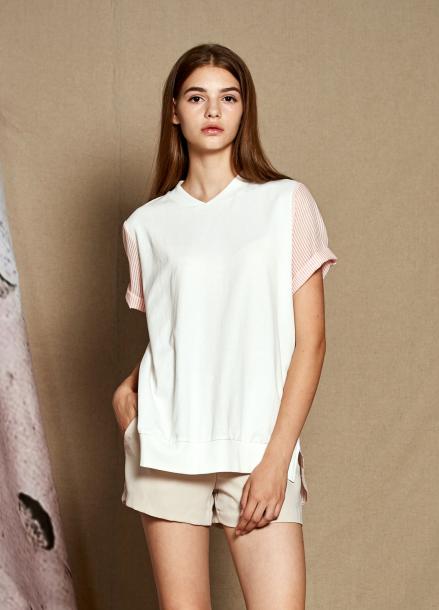 [25%할인/The Kstory] Short Sleeve Stripe Color Block T-shirts_ White