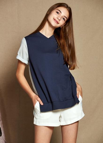 [25%할인/The Kstory] Short Sleeve Stripe Color Block T-shirts_ Navy