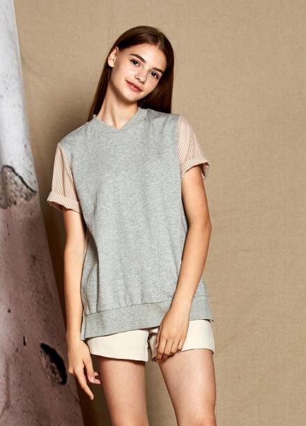 [25%할인/The Kstory] Short Sleeve Stripe Color Block T-shirts_ Grey