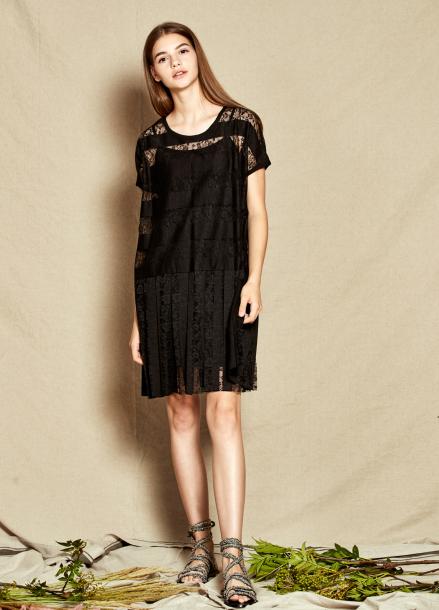 [40%할인/The Kstory] Pleats Lace Dress_ Black