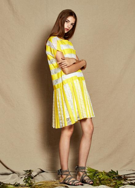 [40%할인/The Kstory] Pleats Lace Dress_ Yellow