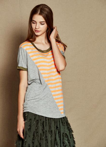 [20%할인/The Kstory] Round neck Stripe T-shirts_ Orange