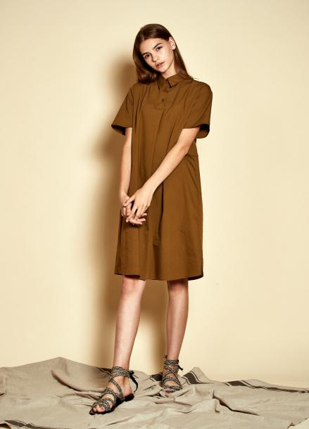 [25%할인/The Kstory] Short Sleeve Three Button Dress_ Khaki