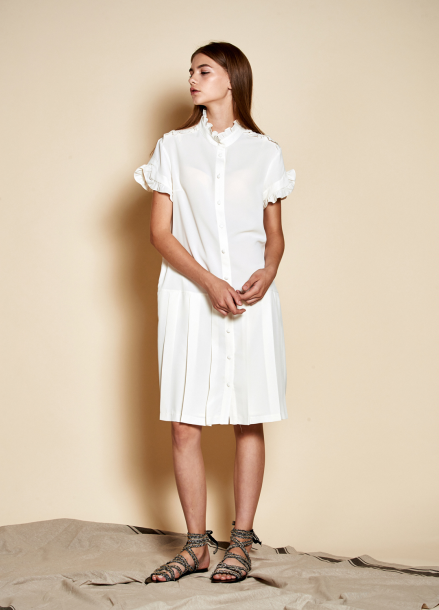 [The Kstory] Ruffle Pleats Dress_ Off White