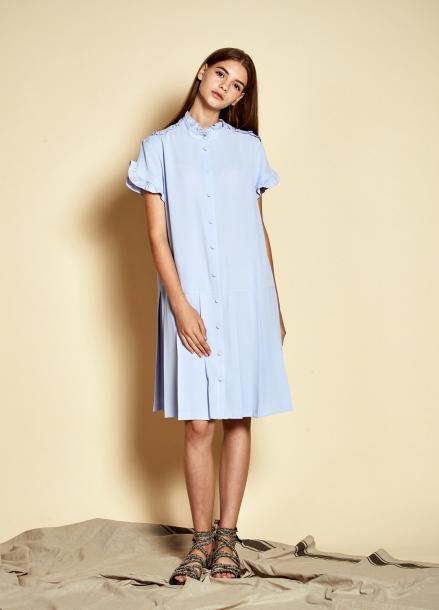 [The Kstory] Ruffle Pleats Dress_ Light blue