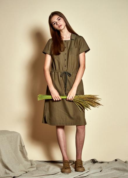 [The Kstory] Square neck String Dress_ Khaki