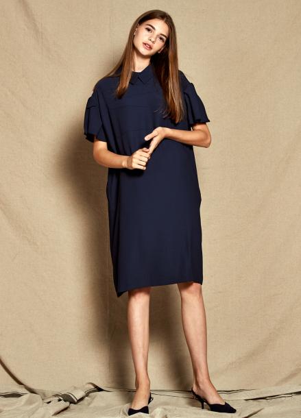 [30%할인/The Kstory] Collar Frill Dress_ Navy