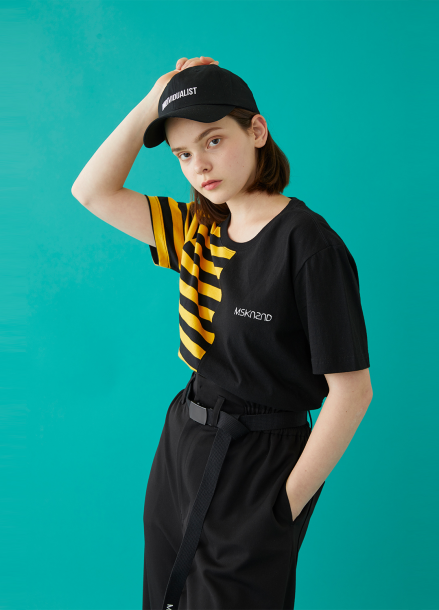 [MSKN2ND]HALF STRIPE SS T-SHIRT YELLOW/BLACK