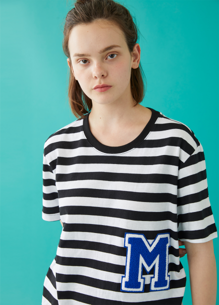 [MSKN2ND]M PATCH STRIPED SS T-SHIRT BLACK