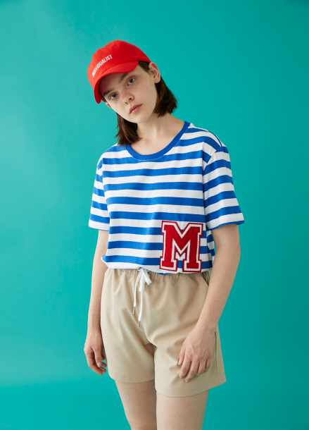 [MSKN2ND]M PATCH STRIPED SS T-SHIRT BLUE